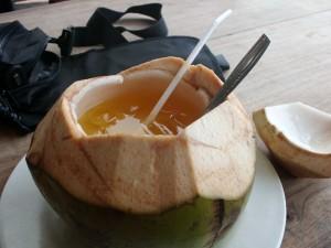 cara membuat es jeruk kelapa muda